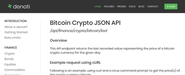 Denoti Bitcoin Cryptocurrency API