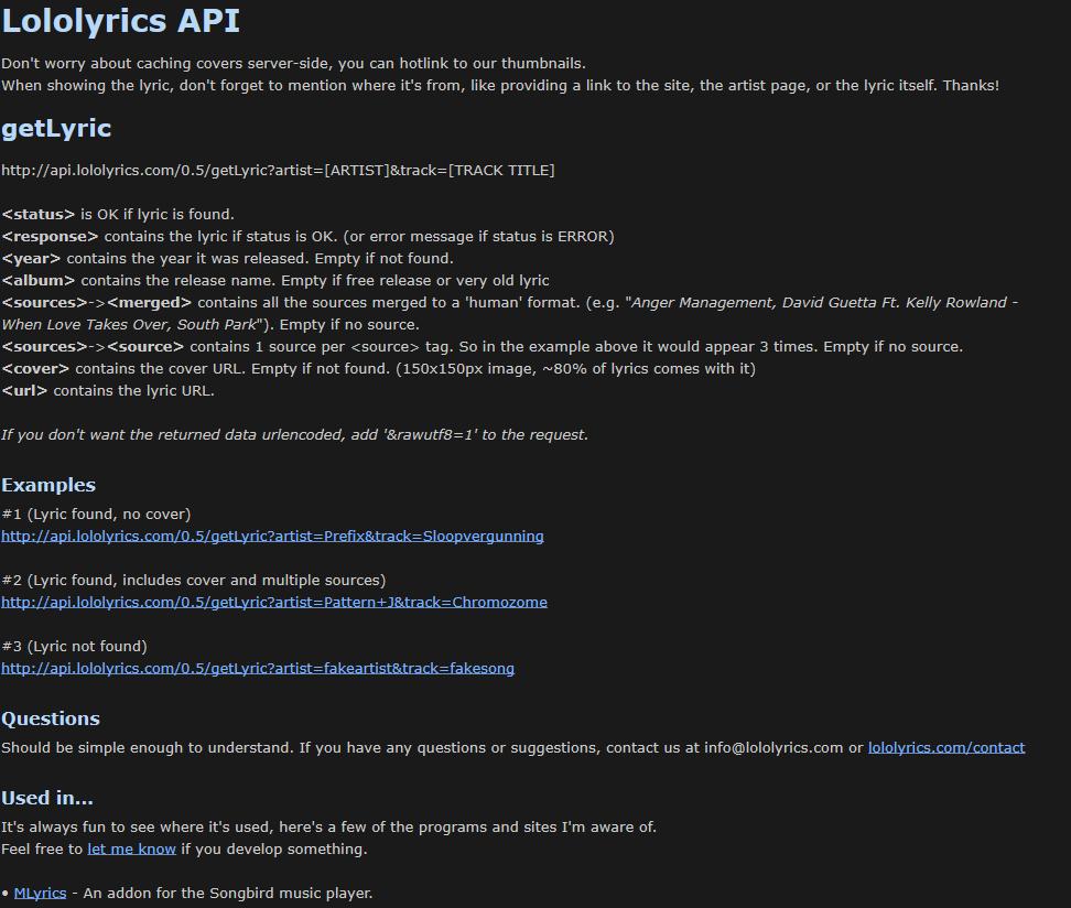Lololyrics API