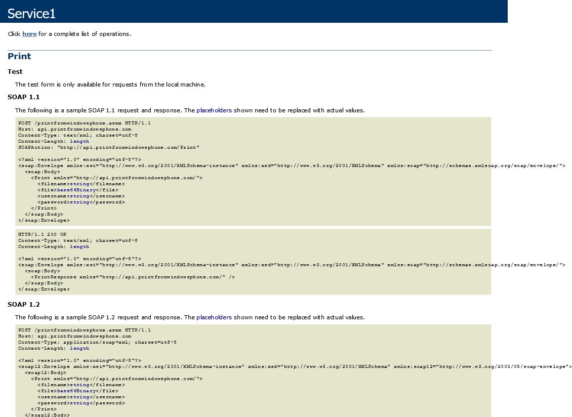 Print From Windows Phone API