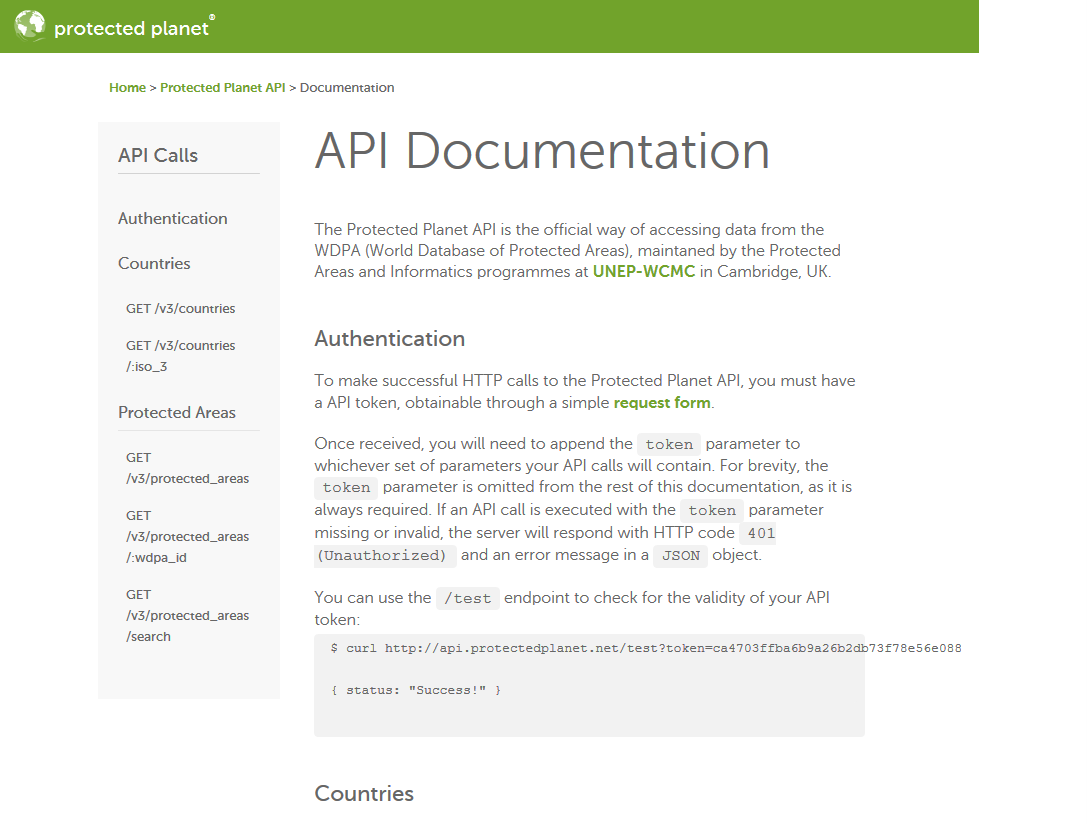 Protected Planet API