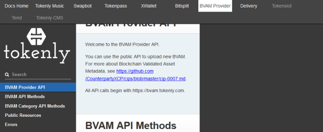 Tokenly Bvam Provider API