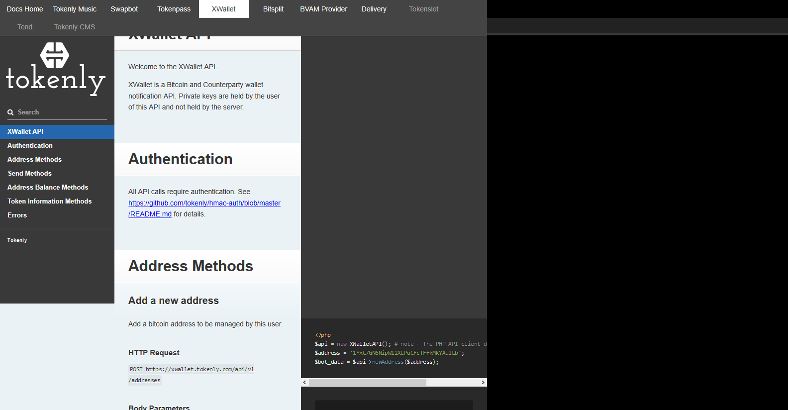 Tokenly XWallet API