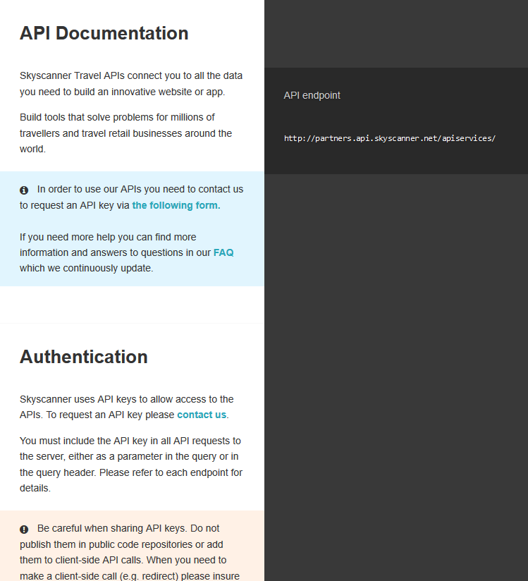 Skyscanner Markets Service API