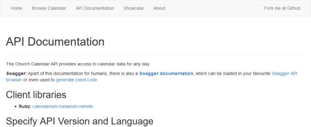 Calapi Church Calendar API