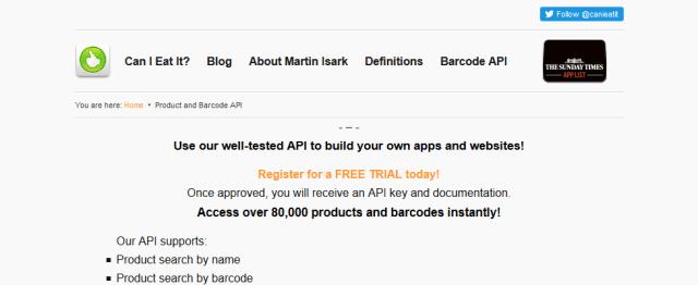 Can I Eat It Barcode API