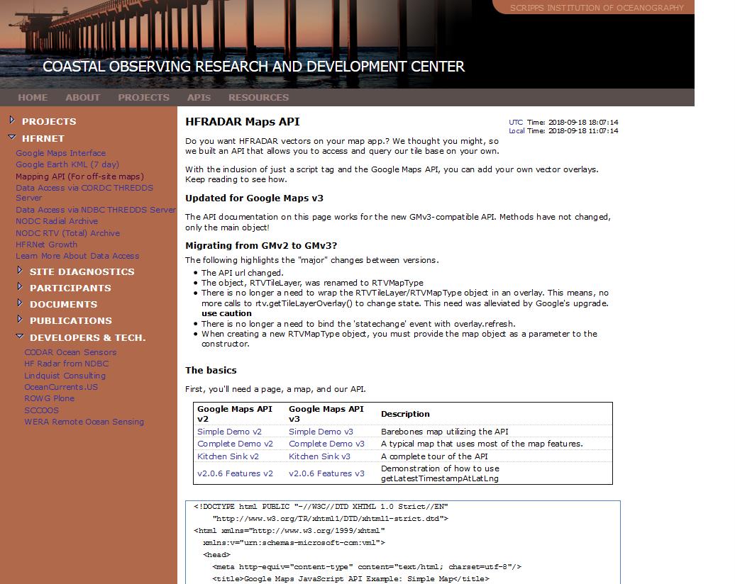CORDC HF RADAR Maps API