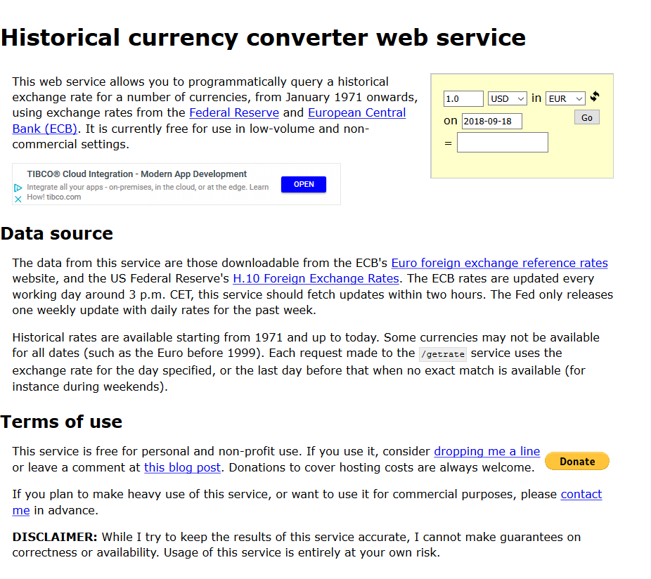 Historical Currency Converter Api