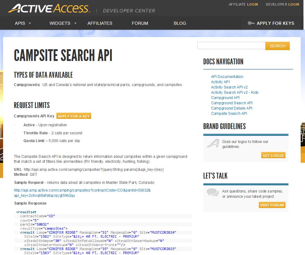 Active Campsite Search API