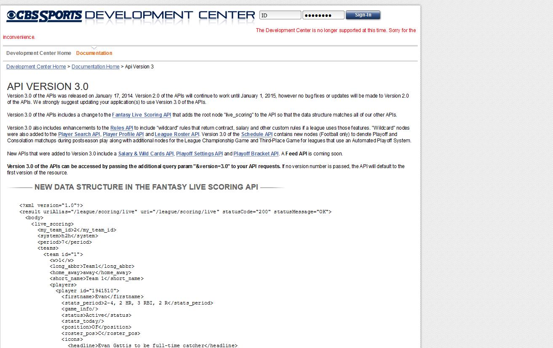 CBSSports.com API