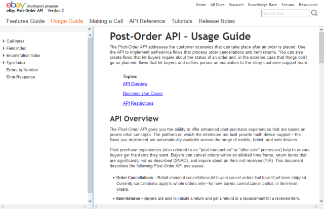 Ebay Post Order API