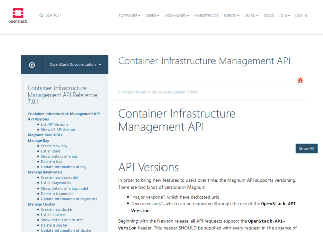 Openstack Container Infrastructure Management API