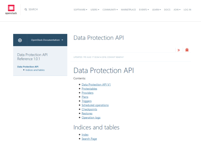Openstack Data Protection API
