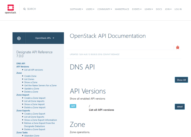 Openstack Domain Name Server API