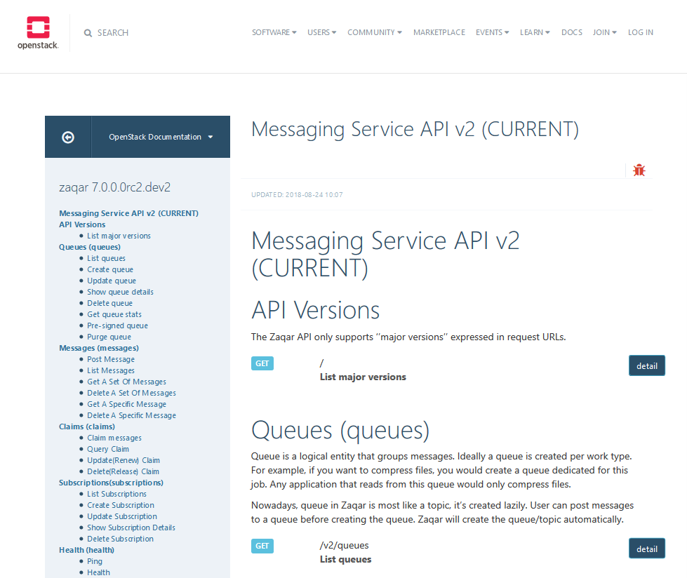 OpenStack Messaging Service API