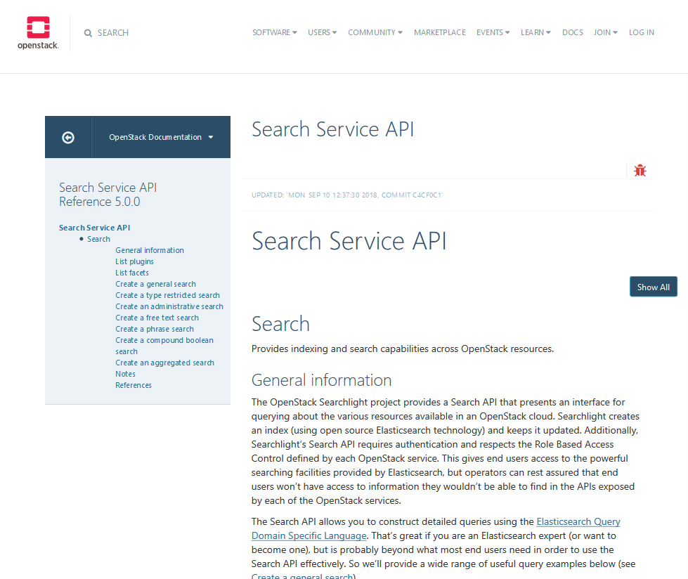 OpenStack Search Service API