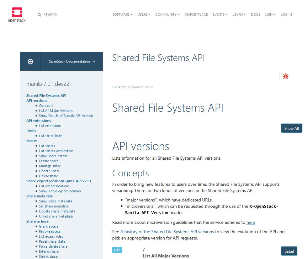 OpenStack Shared File Systems API