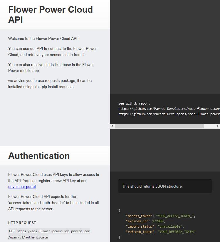 Parrot Flower Power User API
