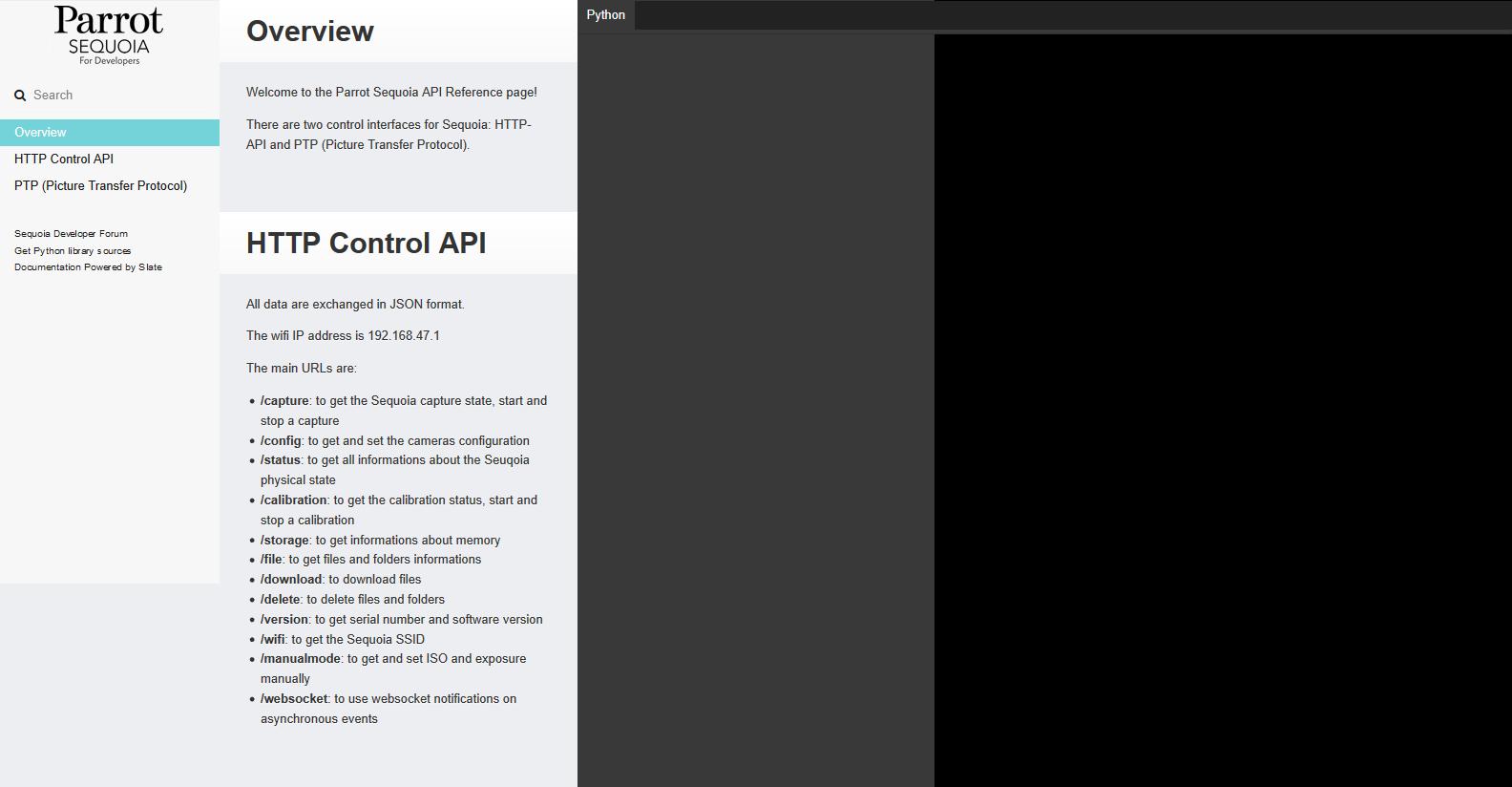 Parrot Sequoia API