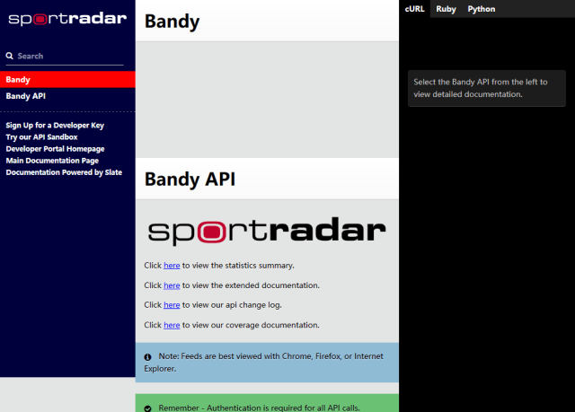 Sportradar Bandy API