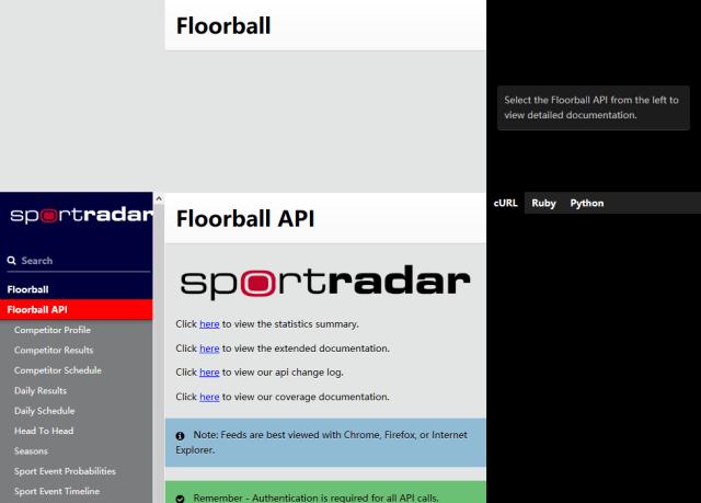 Sportradar Floorball API