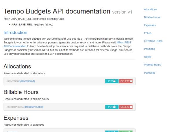 Tempo Budgets API