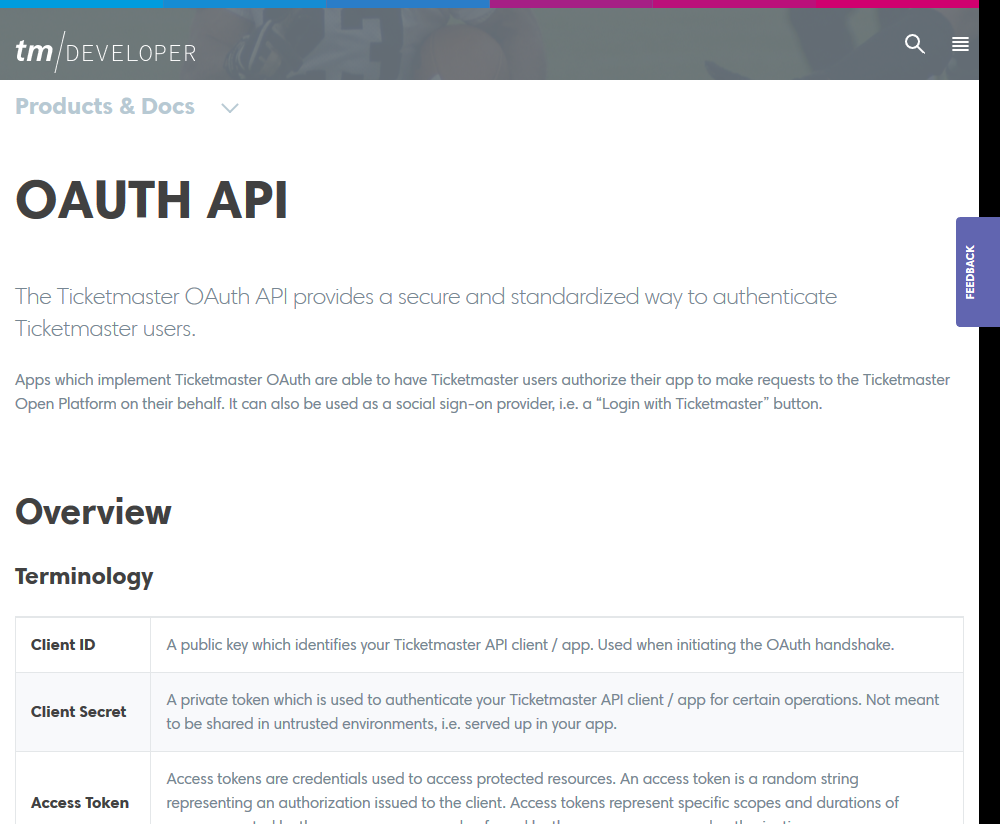 Ticketmaster OAuth API