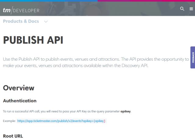 Ticketmaster Publish API