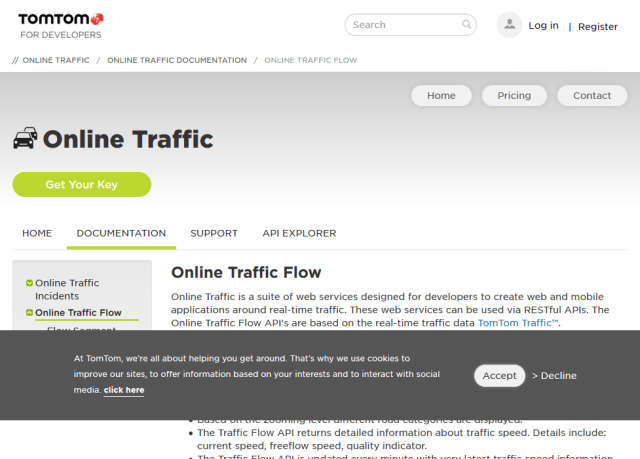 Tomtom Online Traffic Flow API