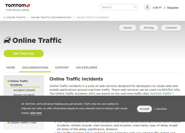 Tomtom Online Traffic Incidents API