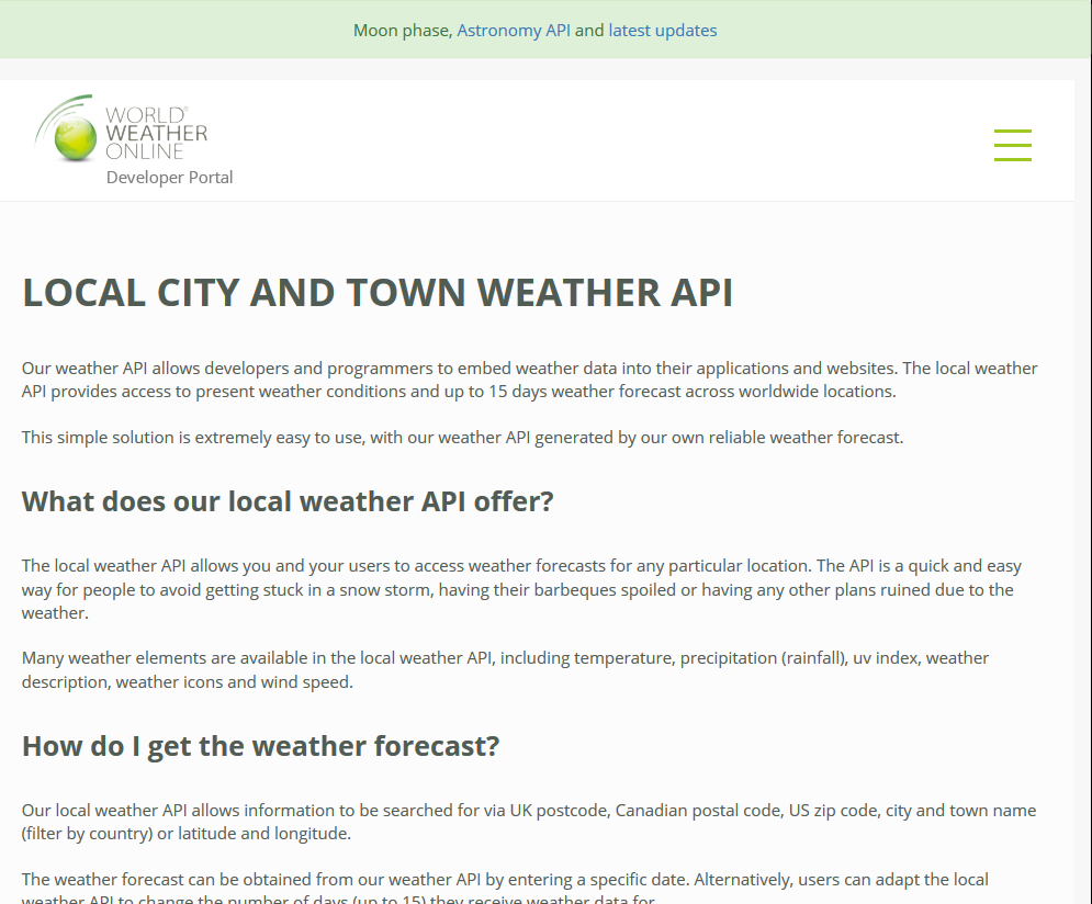 Weather Online Local City And Town Api Overview