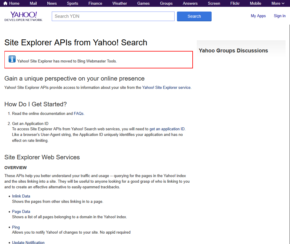 Yahoo Site Explorer Api Overview