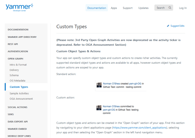 Yammer Og Custom Types API
