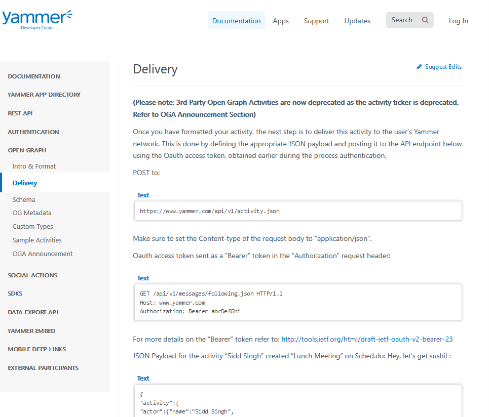 Yammer OG Delivery API