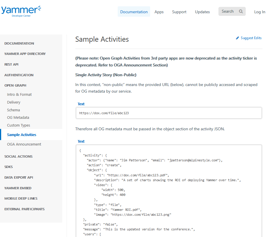 Yammer OG Sample Activities API