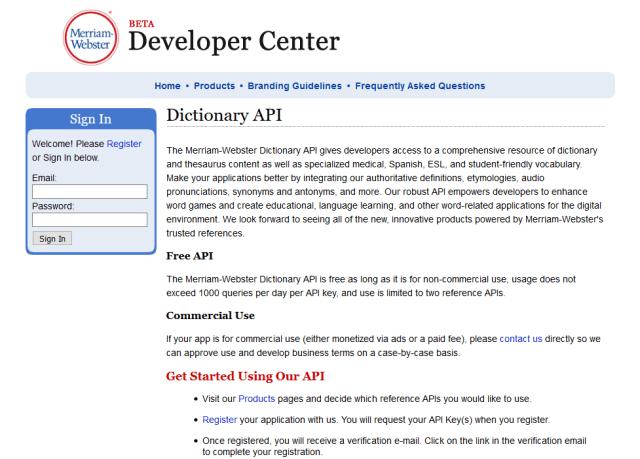 Merriam Webster Dictionary API