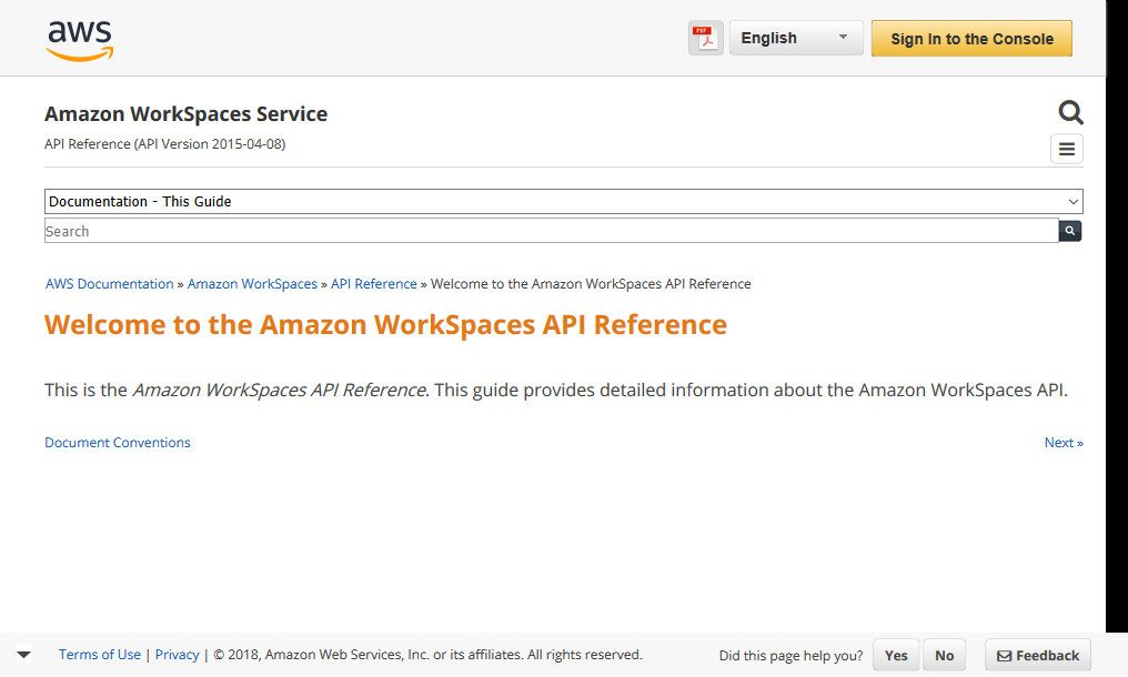 Amazon WorkSpaces API