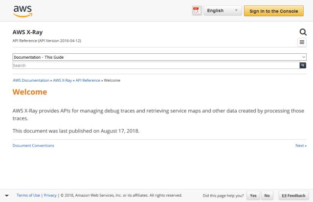 Amazon Web Services X Ray API