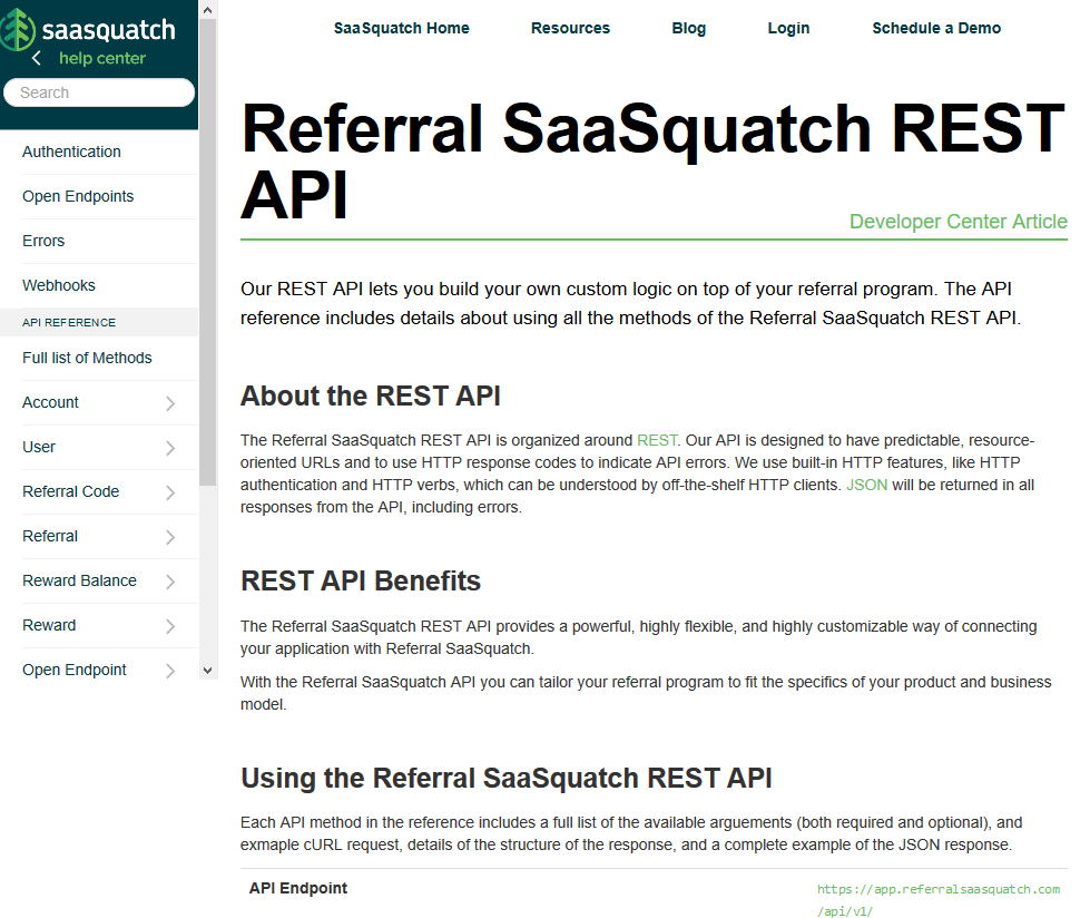 Referral SaaSquatch API