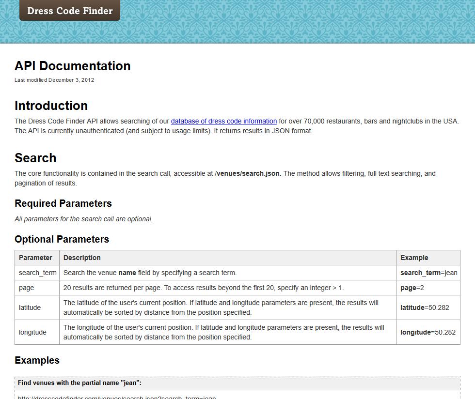Dress Code Finder API