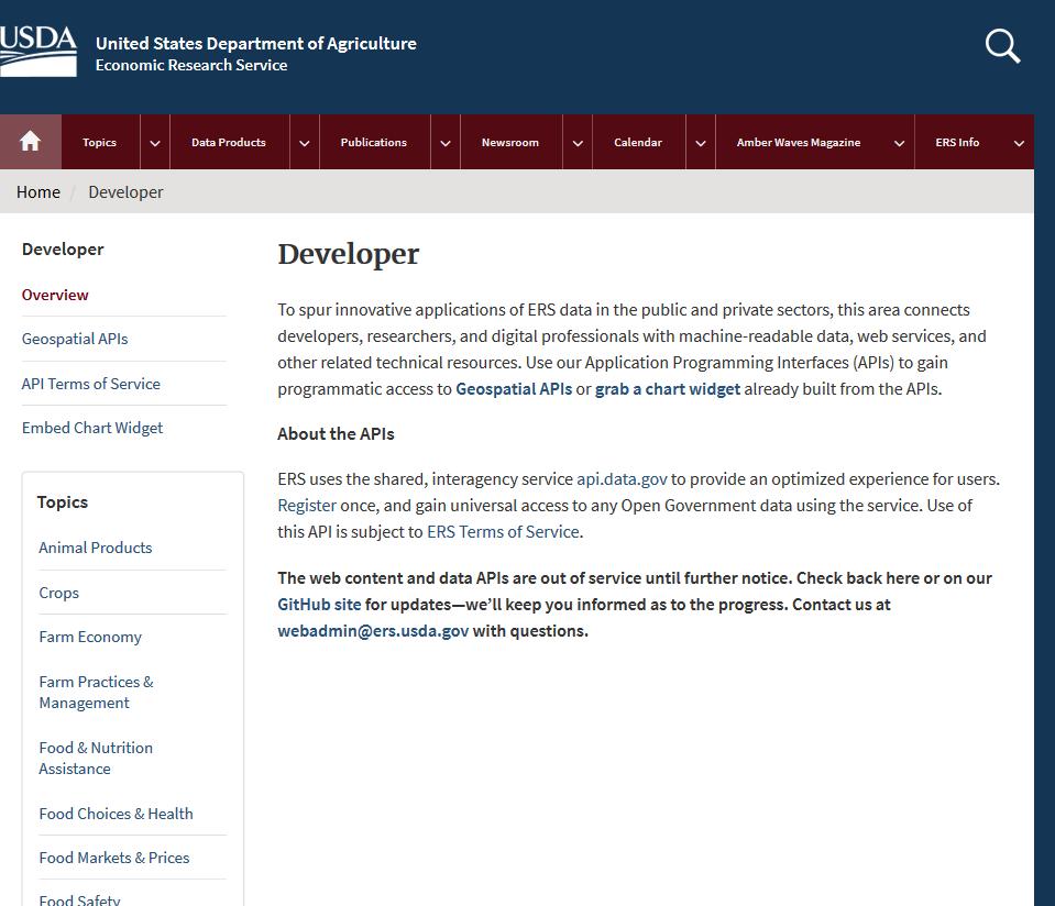 USDA Economic Research Service API