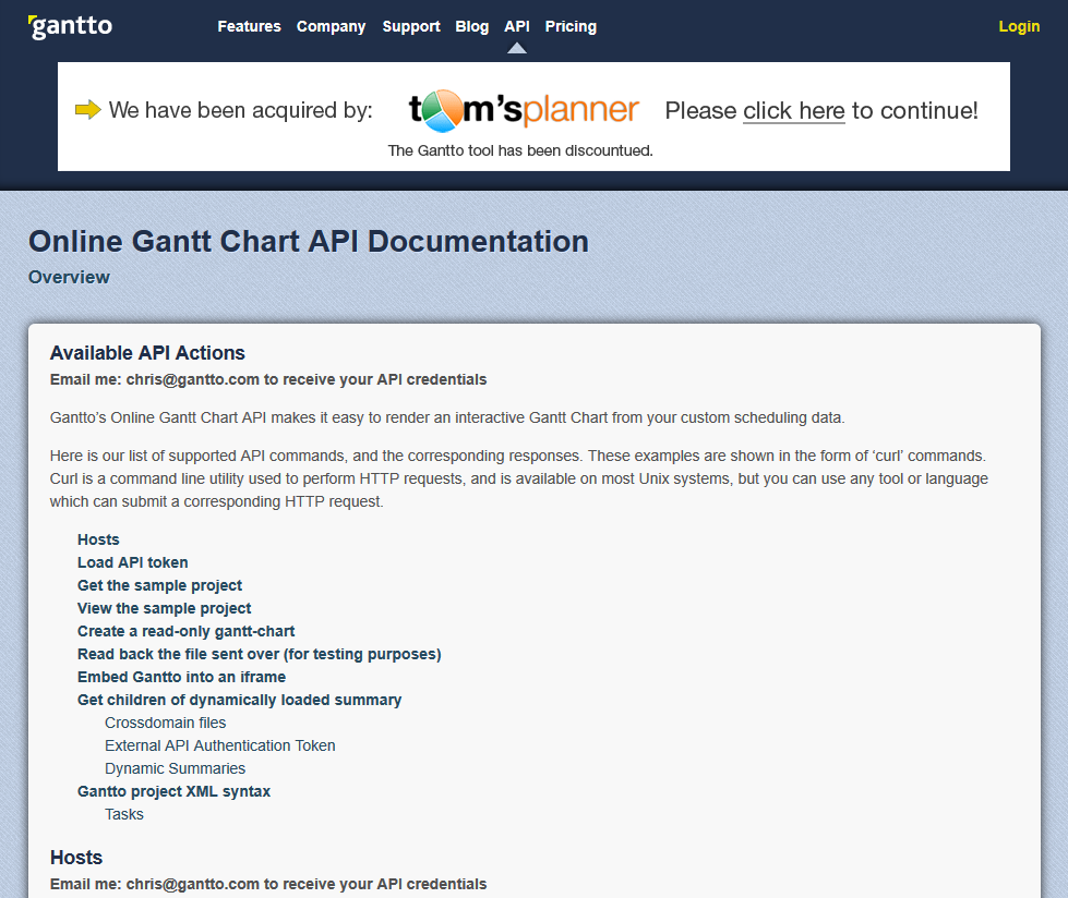 Gantto API