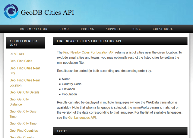 Wirefree Thought Geodb Find Nearby Cities API