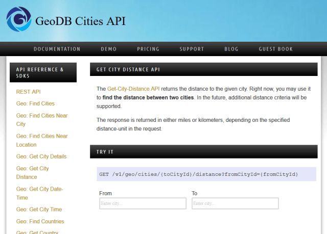 Wirefree Thought Geodb Get City Distance API
