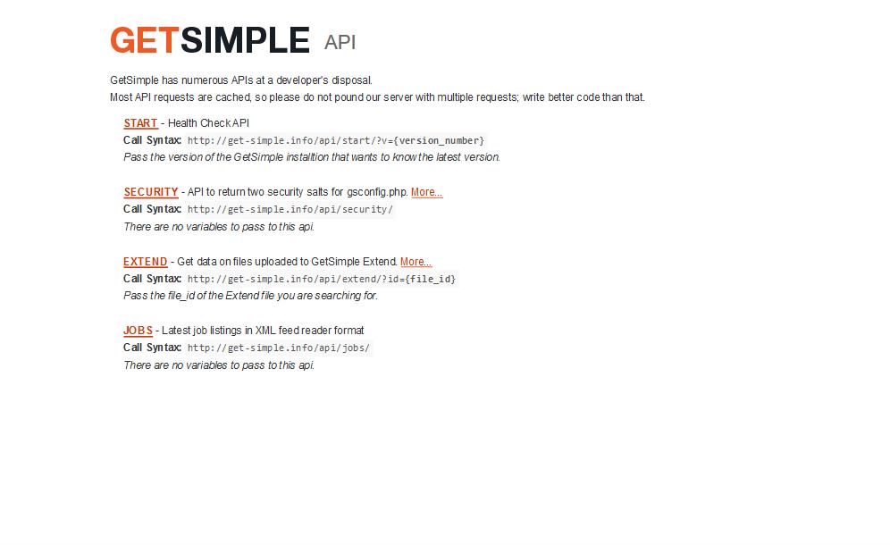 GetSimple API
