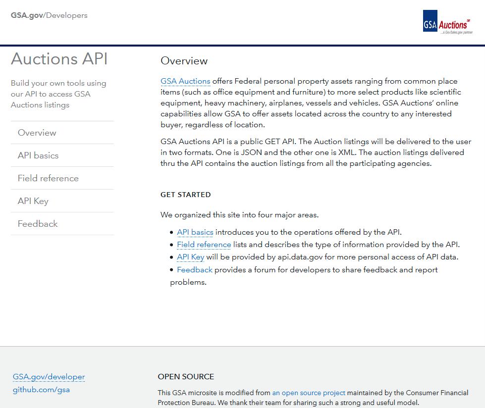 GSA Auctions API