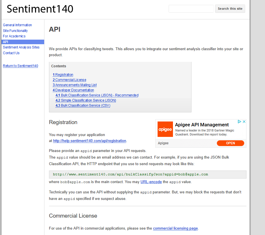 Sentiment140 API