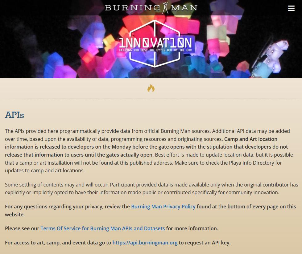 Burning Man API