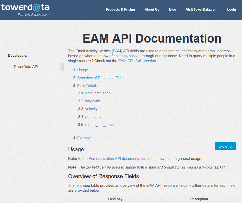 TowerData Email Activity Metrics (EAM) API