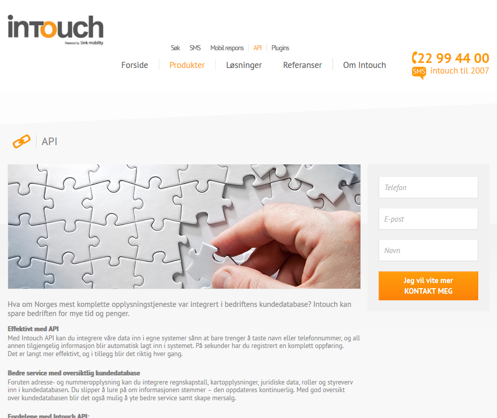Intouch By Eniro API