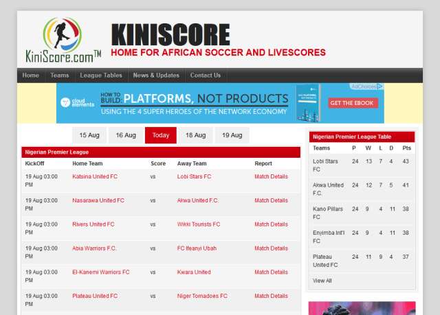 Kiniscore API